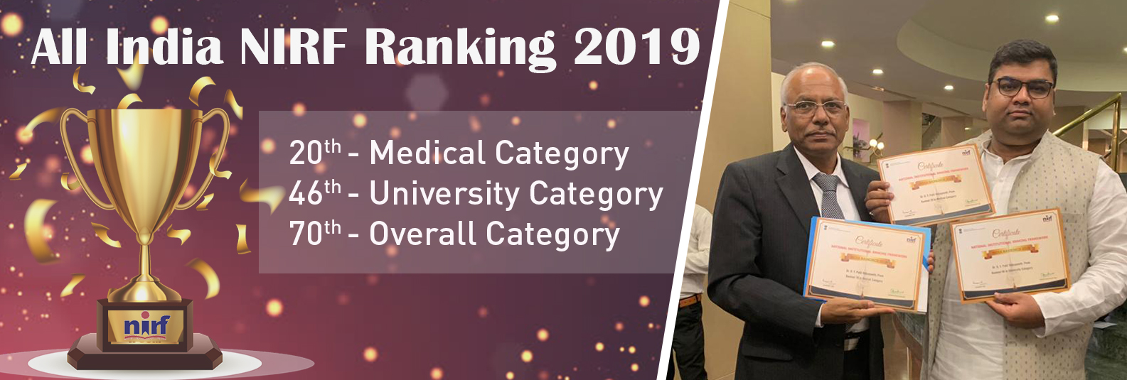 Rank 20th in Medical Catagery, 46th in University Category, 70th in overall category
